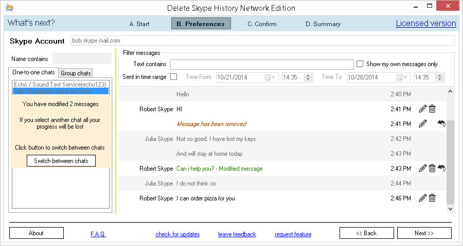 Delete Skype History Network Edition application. Edit or remove messages screen